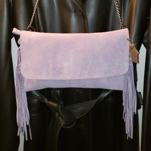 Handbags - New genuine leather purple bag with fringes